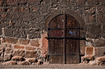 Wooden door from the cellar of a medieval house