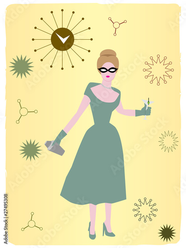 1950s Woman drinking cocktail abstract background
