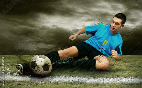 Plexiglas voetbal Soccer players on the field