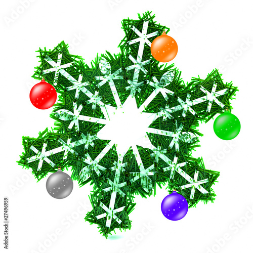 Snowflake Adorned With Christmas Decorations