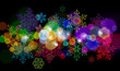set of snowflakes on black background & color lights