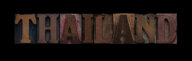 the word Thailand in old letterpress wood type