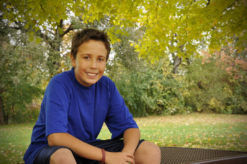 preteen in autumn