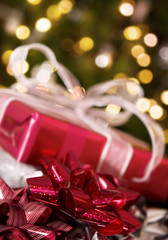 christmas background - ribbon, parcel, tree