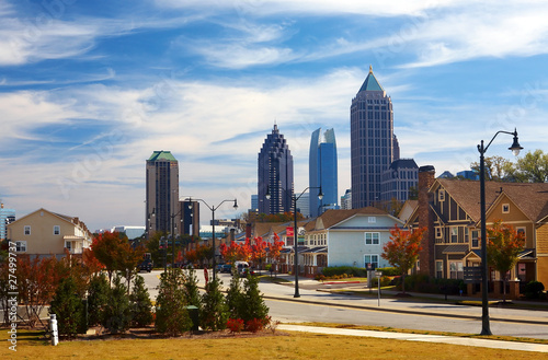 Houses against the midtown. Atlanta, GA. USA.