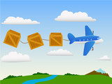 Cartoon plane in the sky with cargo wooden box and landscape