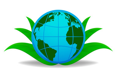 Blue globe with green leaf on background