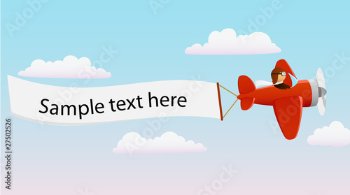 Cartoon red plane with pilot and advertising banner