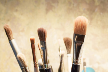 Set of brushes for painting on ancient wall background