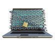laptop computer with lock and chains around screen