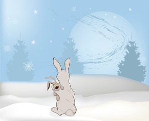 Fairy tale about mum of a rabbit and the moon