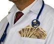 Arzt mit japanischen YEN Geldscheinen