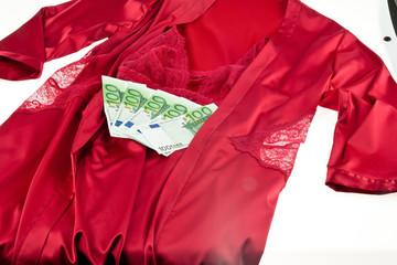 Prostitution. Dessous und Euro einer Prostituierten.