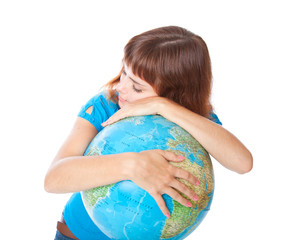 a girl is sleeping on the globe