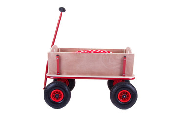 a modern new wooden barrow for any kind of transport isolated ov