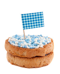 biscuits with blue white mice for a new born baby in Holland iso