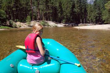 rafting along river