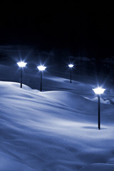 lights in snow