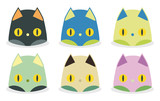 set of funny cat heads kawaii style poster