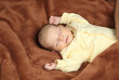 Newborn baby sleeping in soft brown blanket