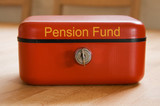 Red metal pension fund savings tin poster