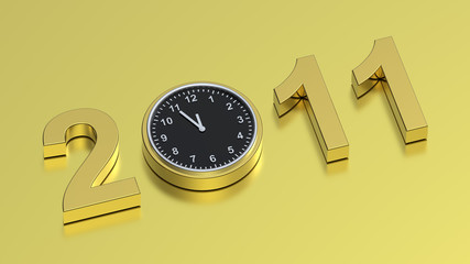 Gold sign of five minutes to new year on gold background.