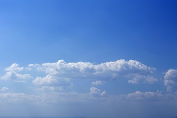 Beautiful blue sky in summertime with white clouds, texture