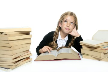 little thinking student blond braided girl glasses smiling
