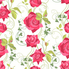 Roses and Ivy, seamless background
