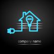 logo électricien 3 (néons bleus sur fond noir)