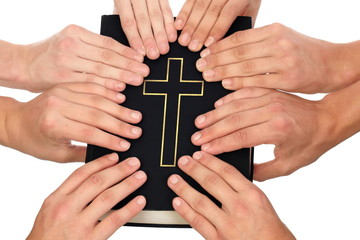 Holding Holy Bible