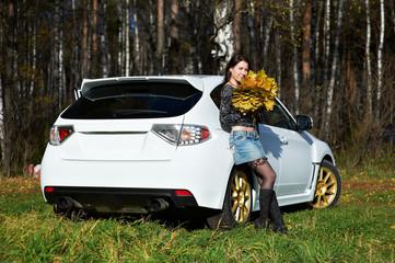 Beauty romantic girl and white stylish modern car