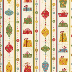Seamless pattern with gifts and balls