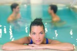 spa woman portrait relaxed in pool water