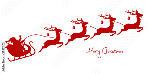 Christmas Sleigh Santa & 4 Flying Reindeers