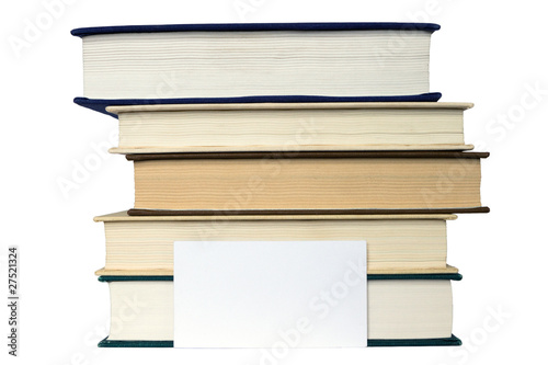 Stack of books and card isolated on the white background