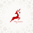 Xmas Card Jumping Reindeer, Christmas Ball & Snowflakes
