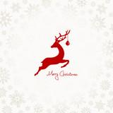 Xmas Card Jumping Reindeer, Christmas Ball & Snowflakes