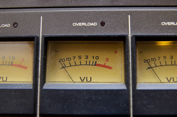 Old VU meter on professional audio equipment