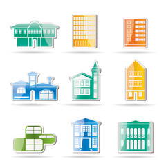 different kind of houses and buildings - Vector Illustration 2