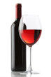 Glass of red wine and a bottle isolated over white background - 27524700