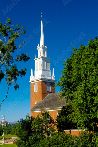 Small Rural Church with Blue Sky