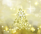 Golden Christmas Tree Background