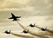 Leinwanddruck Bild - Silhouetted Airplanes on Dramatic Sky