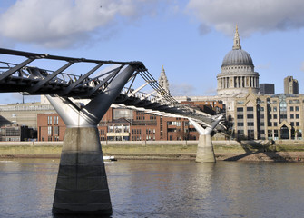 Millennium Bridge and St Pauls Cathedral, London