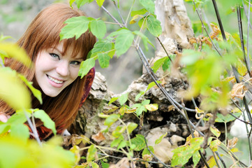 redheaded girl in forest