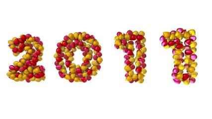 globos en 3d escribiendo 2010 transformandose en 2011