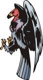 The griffin-scavenger lands. Predatory birds. poster