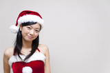 a portrait of santa girl isolated on white background