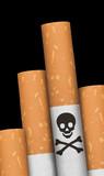 Skull and crossbones in cigarette. poster